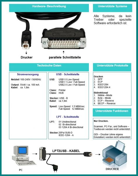 LPT2USB-Cable Parallel/LPT zu USB Adapter